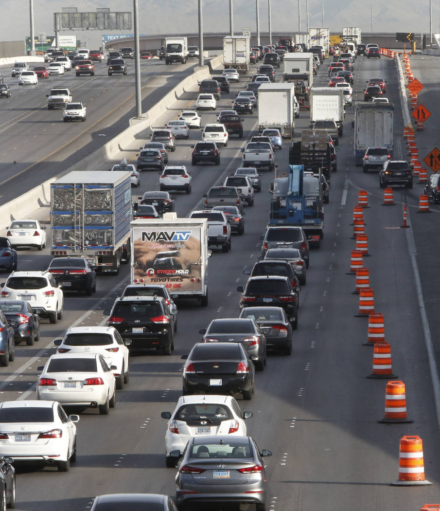 "Traffic backs up in the northbound lanes of Interstate 15, near Sahara Avenue exit in Las Vega,s on Thursday, March 8, 2018, as the ""Main Event,"" the $1 billion reconfiguration of the Spaghett ..."