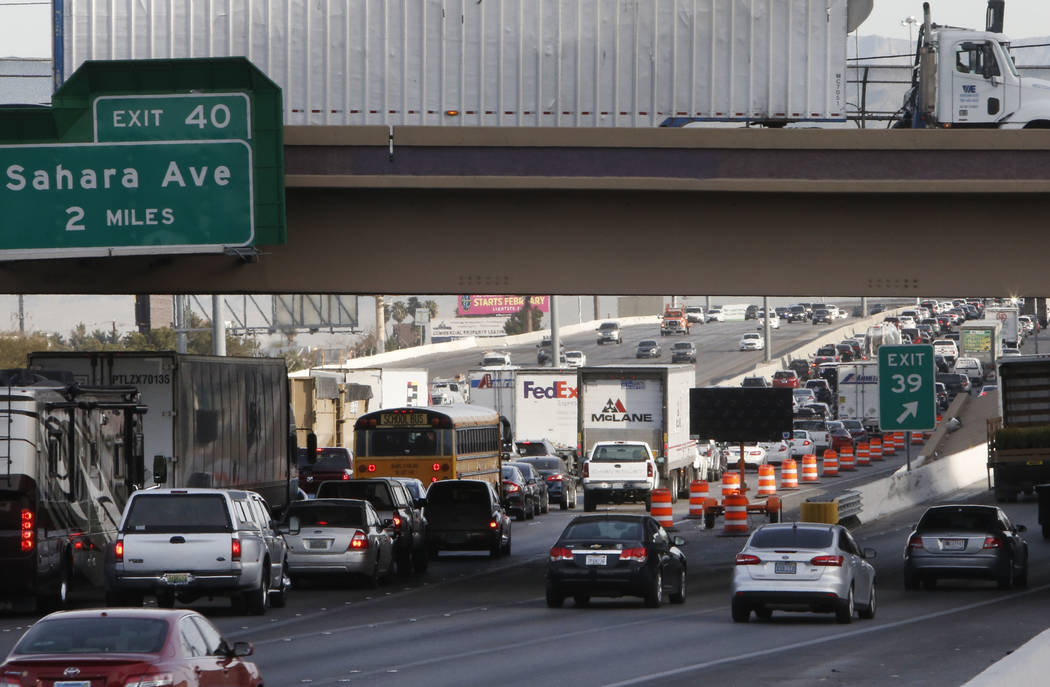 "Traffic backs up in the northbound lanes of Interstate 15, near Sahara Avenue exit, in Las Vegas on Thursday, March 8, 2018, as the ""Main Event,"" the $1 billion reconfiguration of the Spaghett ..."