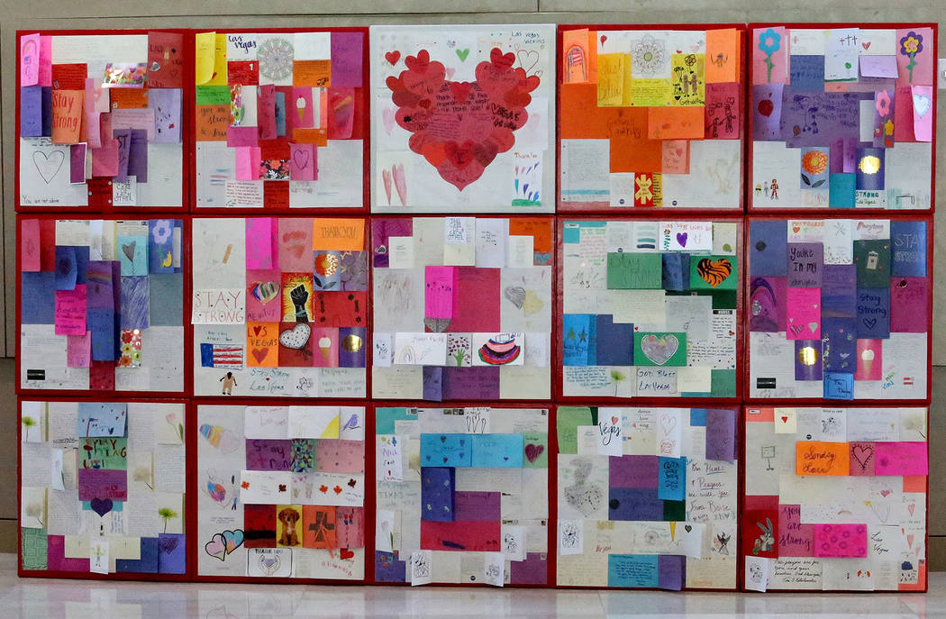 Using many of the thousands of cards letters and hearts sent to Las Vegas after the Oct. 1 shooting, artist J.K. Russ created a modular display. (Michael Quine/Las Vegas Review-Journal) @Vegas88s