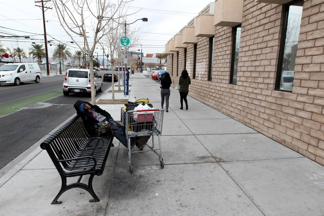 People walk on Garces Avenue near South Third Street in downtown Las Vegas Wednesday, March 7, 2018. K.M. Cannon Las Vegas Review-Journal @KMCannonPhoto