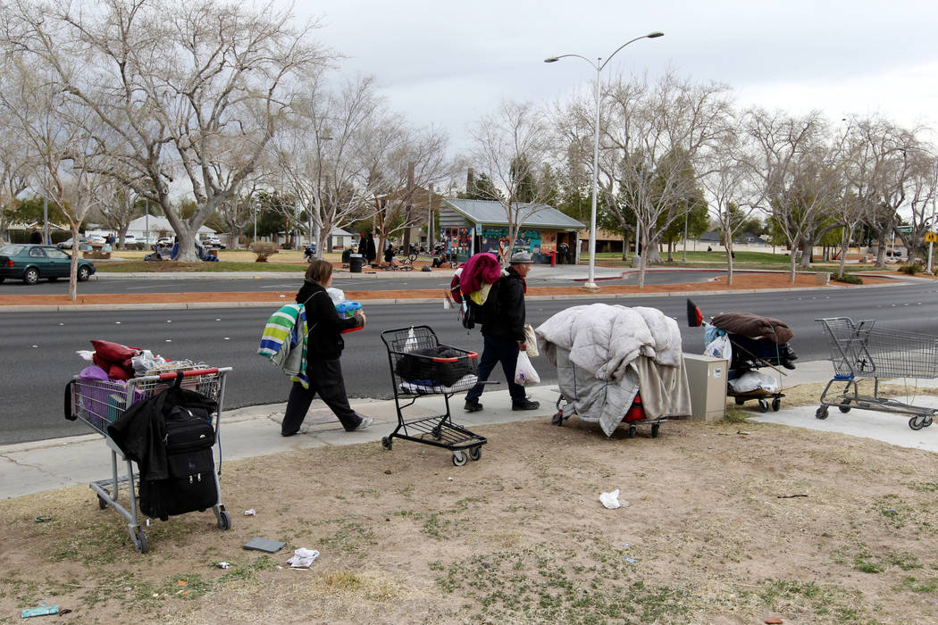 Belongings are parked along South Maryland Parkway across from Huntridge Circle Park in Las Vegas Wednesday, March 7, 2018. K.M. Cannon Las Vegas Review-Journal @KMCannonPhoto