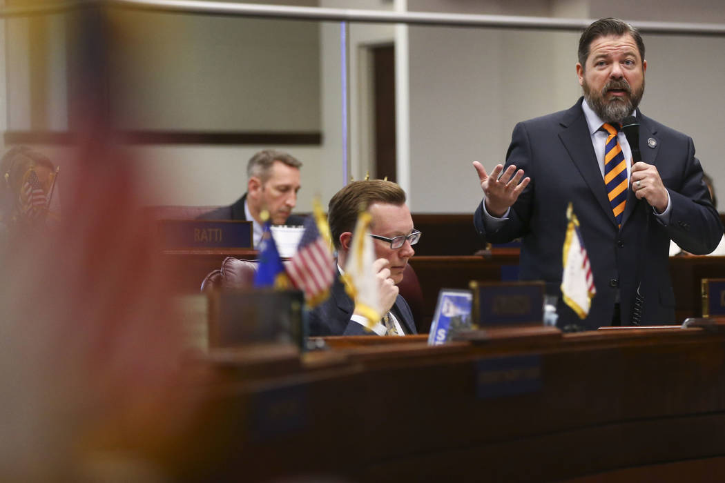 Senate Minority Leader Michael Roberson, R-Henderson, during the last day of the Nevada Legislature at the Legislative Building in Carson City on Monday, June 5, 2017. (Chase Stevens/Las Vegas Rev ...