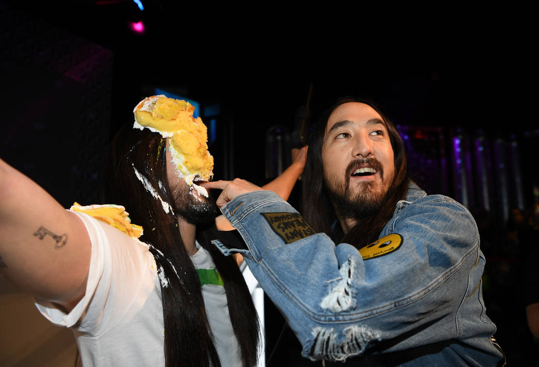 Steve Aoki is shown with his wax figure at Madame Tussauds at The Venetian on Tuesday, March 6, 2018. (Denise Truscello)