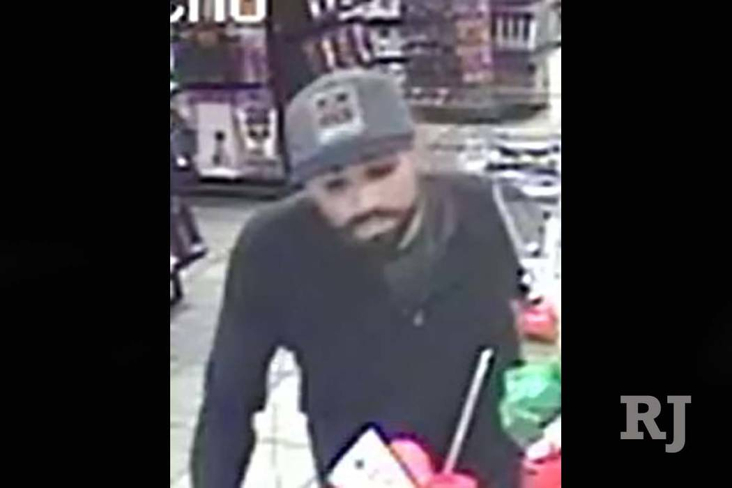 Las Vegas police are searching for a suspect who robbed an adult entertainment store in February. (Las Vegas Metropolitan Police)