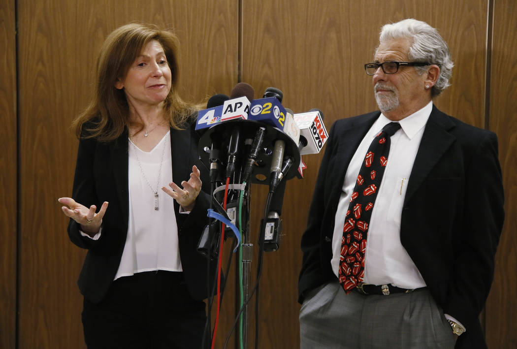 Rabbi Naomi Levy, left, and Attorney Daniel Brookman appear on behalf of defendant Terry Bryant, as the media awaits his appearance in Los Angeles Superior Court Wednesday, March 7, 2018. Bryant i ...