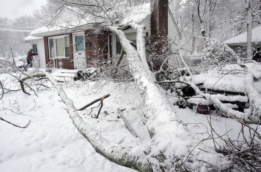 Brian Farrell, of Walpole, Mass., left, enters his home Thursday, March 8, 2018, after a tree fell on the house and a car, right, in Walpole. For the second time in less than a week, a storm rolle ...