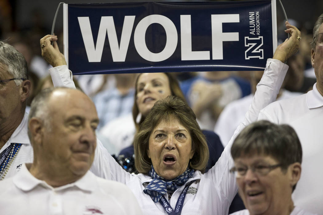 Fans during a game between UNLV Rebels and Nevada Wolf Pack in the Mountain West Conference men's basketball tournament at the Thomas & Mack Center in Las Vegas, Thursday, March 8, 2018. Erik  ...