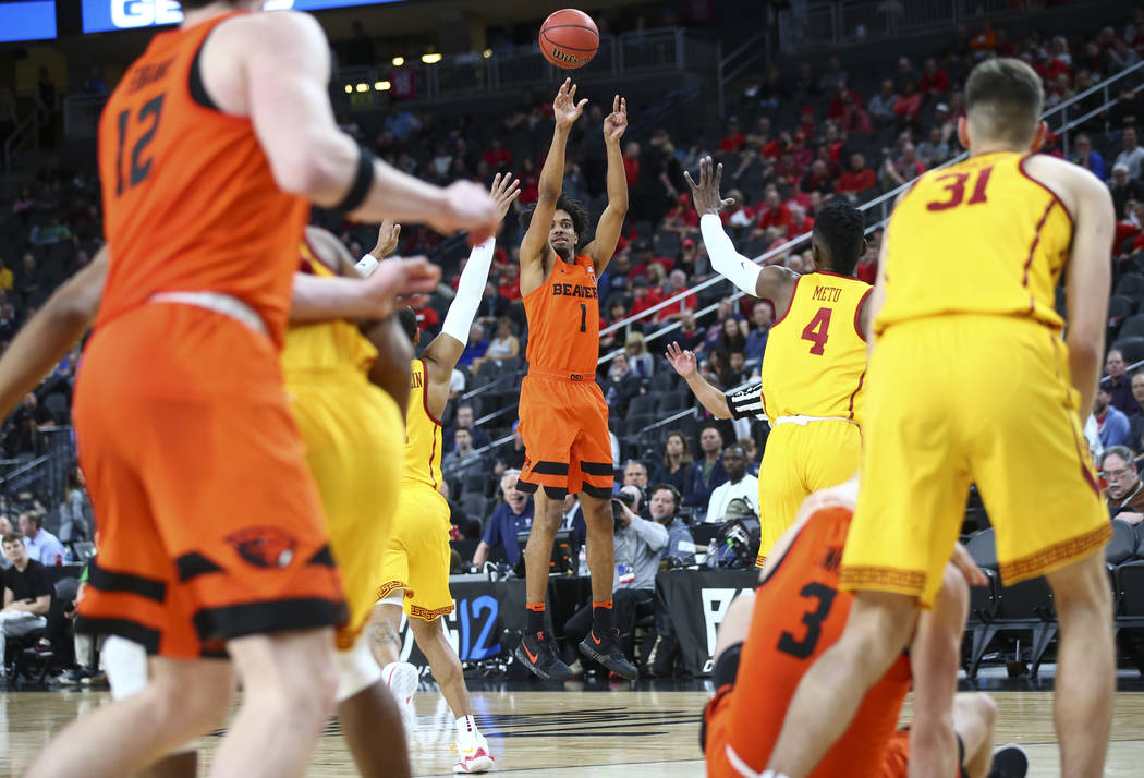 Oregon State Beavers guard Stephen Thompson Jr. (1) shoots against the USC Trojans during the Pac-12 basketball tournament at T-Mobile Arena in Las Vegas on Thursday, March 8, 2018. Chase Stevens  ...