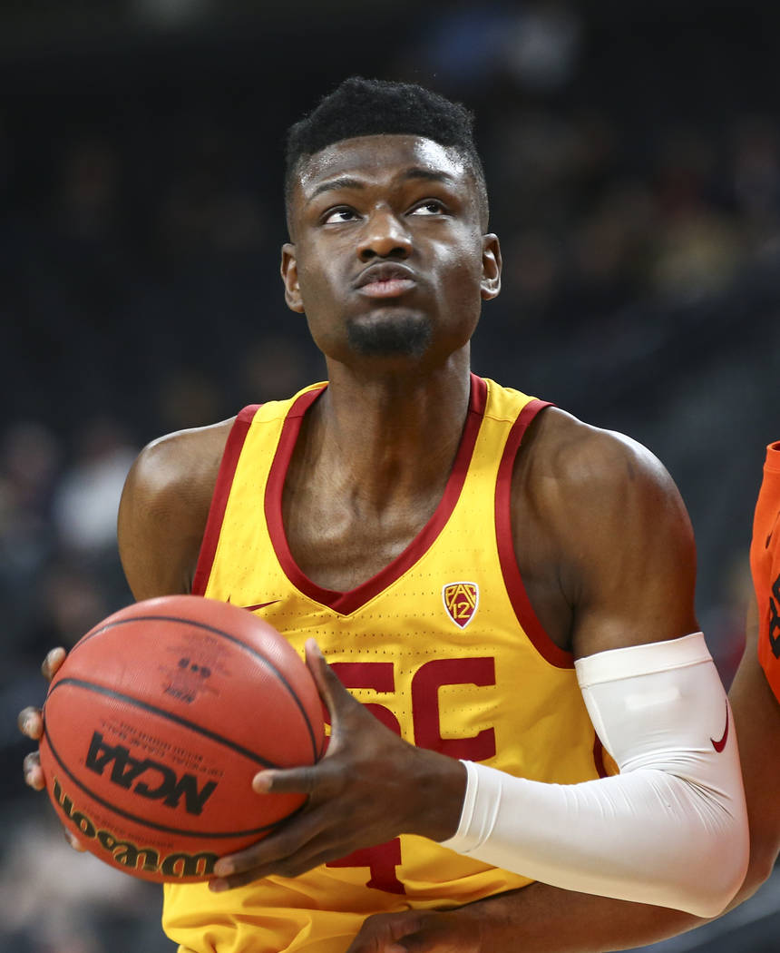 USC Trojans forward Chimezie Metu (4) eyes the basket while playing the Oregon State Beavers during the Pac-12 basketball tournament at T-Mobile Arena in Las Vegas on Thursday, March 8, 2018. Chas ...