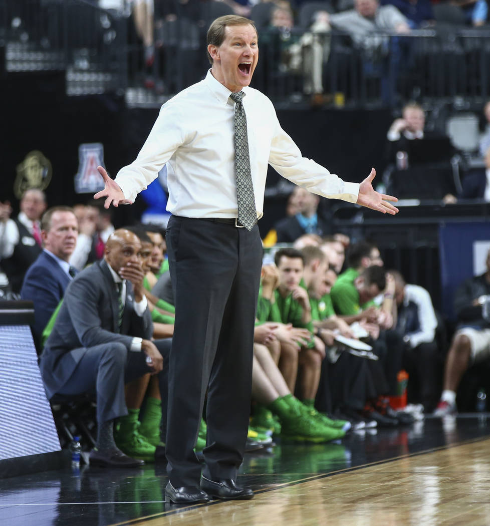 Oregon Ducks head coach Dana Altman reacts as his team plays the Utah Utes during the Pac-12 basketball tournament at T-Mobile Arena in Las Vegas on Thursday, March 8, 2018. Chase Stevens Las Vega ...