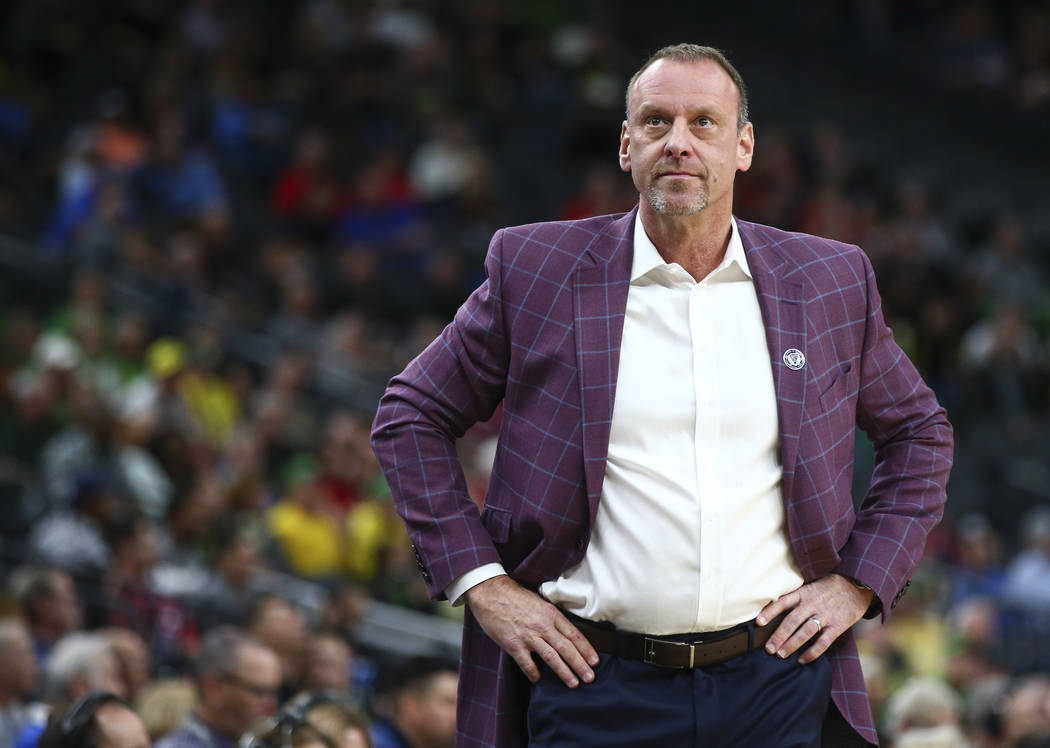Utah Utes head coach Larry Krystkowiak as his team plays the Oregon Ducks during the Pac-12 basketball tournament at T-Mobile Arena in Las Vegas on Thursday, March 8, 2018. Chase Stevens Las Vegas ...