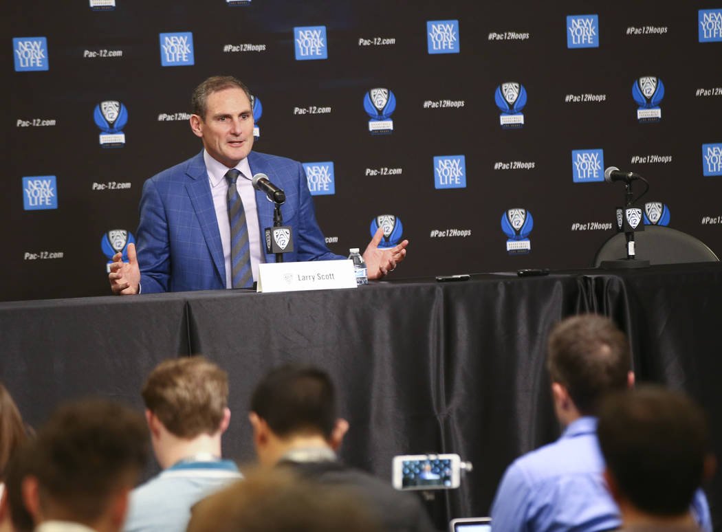Larry Scott, commissioner of the Pac-12 Conference, speaks at a press conference during the Pac-12 basketball tournament at T-Mobile Arena in Las Vegas on Thursday, March 8, 2018. Chase Stevens La ...