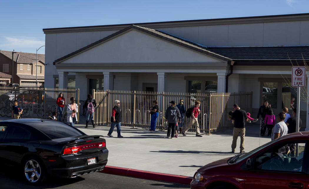Students and parents walk outside as school lets out at American Leadership Academy on Ann Road in North Las Vegas on Thursday, March 8, 2018.  Patrick Connolly Las Vegas Review-Journal @PConnPie