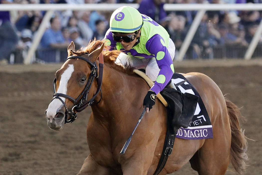 In this Nov. 4, 2017, file photo, jockey Jose Ortiz rides Good Magic to victory in the Sentient Jet Juvenile horse race at the Breeders' Cup in Del Mar, Calif. (AP Photo/Gregory Bull, File)