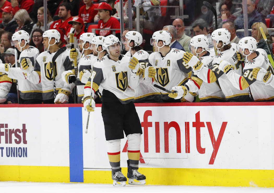 Vegas Golden Knights right wing Alex Tuch (89) celebrates his goal against the Detroit Red Wings in the second period of an NHL hockey game Thursday, March 8, 2018, in Detroit. (AP Photo/Paul Sancya)