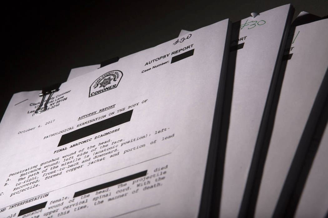 Clark County Medical Coroner autopsy reports shot in the RJ studio in Las Vegas, Friday, March 9, 2018. Patrick Connolly  Las Vegas Review-Journal  @PConnPie