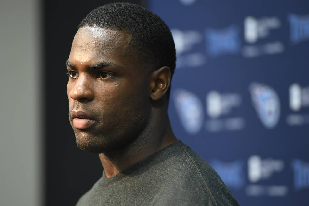 Tennessee Titans running back DeMarco Murray addresses the media at St. Thomas Sports Park before the start of NFL football training camp Friday, July 28, 2017, in Nashville, Tenn. (George Walker  ...