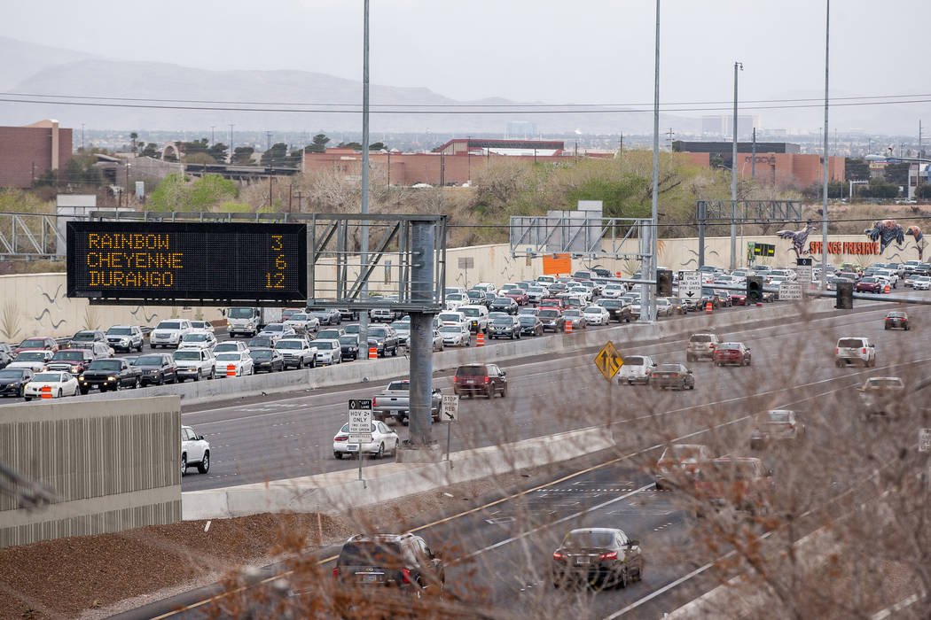 Traffic is backed up on U.S. Highway 95 due to construction in Las Vegas on Saturday, March 10, 2018.  Patrick Connolly Las Vegas Review-Journal @PConnPie