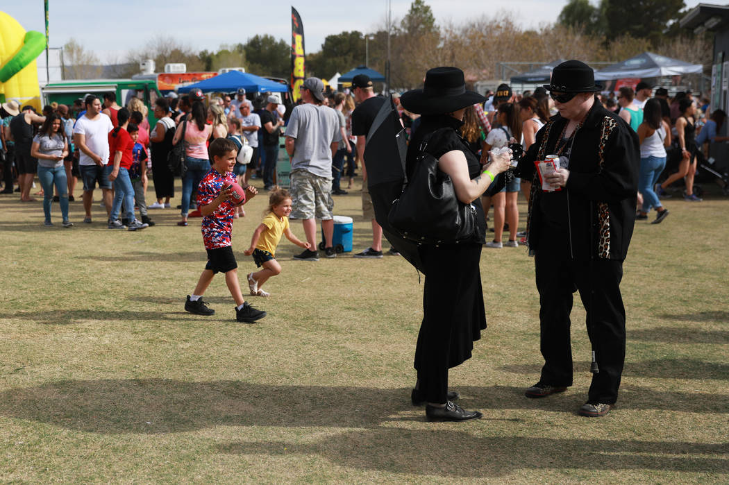 Crowds gather for the first Tacos and Tamales Festival, organized by the Clark County Parks and Recreation, at Sunset Park in Las Vegas on Saturday, March 31, 2018. The event featured a wide array ...