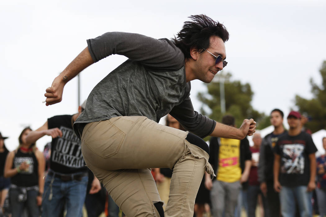 "Danny ""Danby"" Ortega dances to Los Ataskados during the first Tacos and Tamales Festival, organized by the Clark County Parks and Recreation, at Sunset Park in Las Vegas on Saturday, Mar ..."