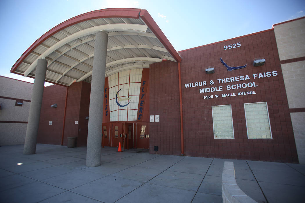 Wilbur and Theresa Faiss Middle School on Monday, March 12, 2018, is one of 42 CCSD schools with solar panel installations, saving approximately $514,000 per year in energy costs. Michael Quine La ...