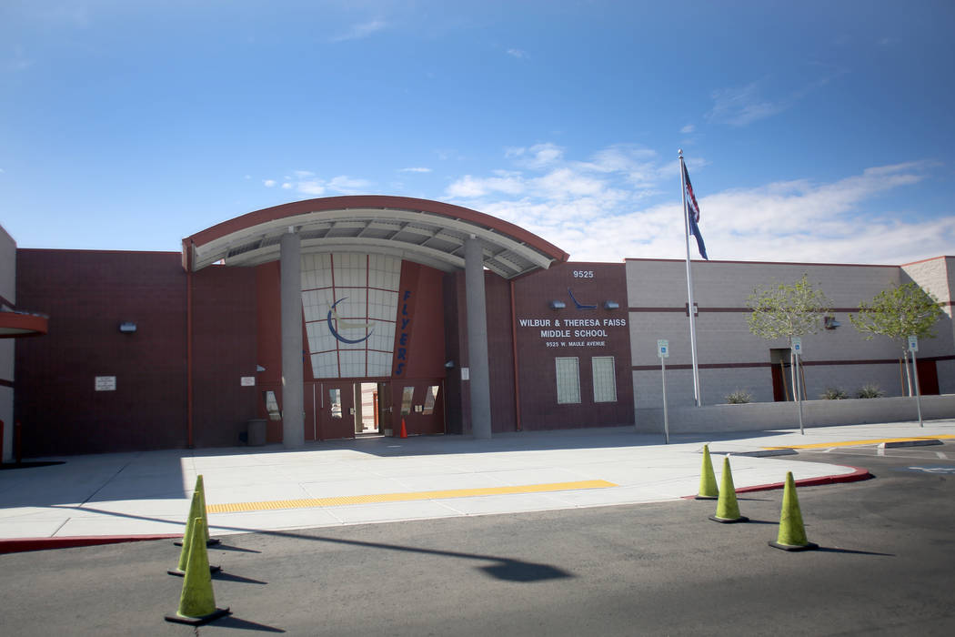 Wilbur and Theresa Faiss Middle School on Monday, March 12, 2018. Michael Quine Las Vegas Review-Journal @Vegas88s