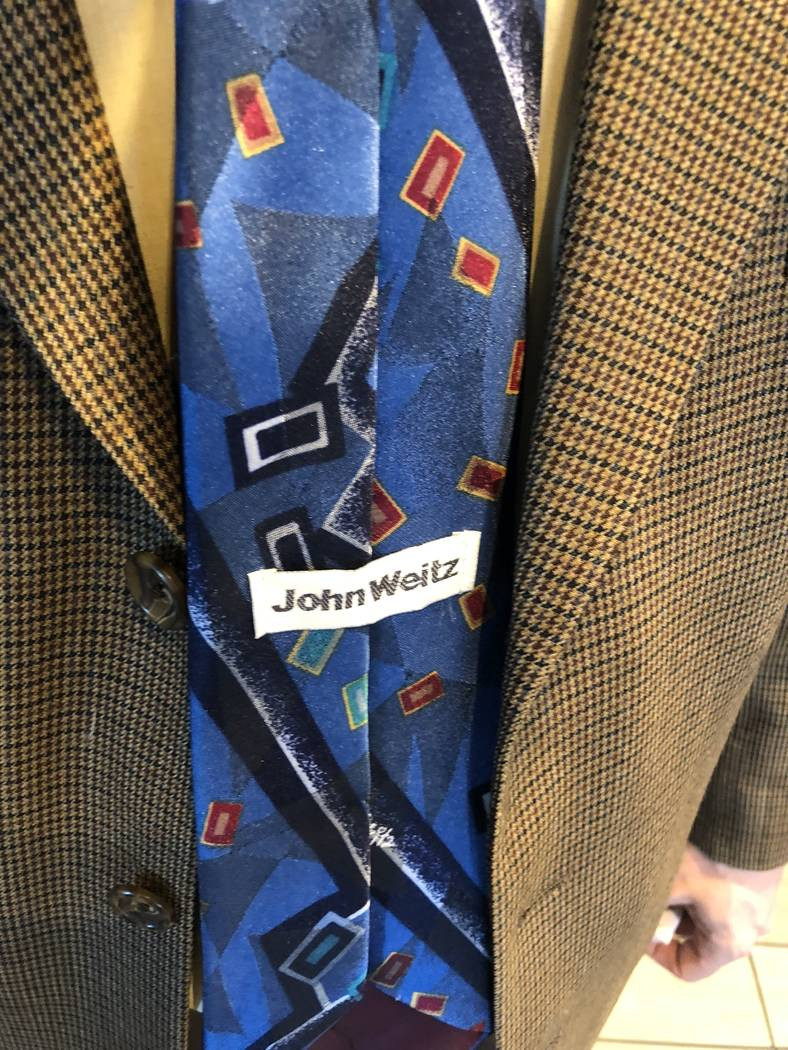 """The backward tie of """"Opium"""" character/producer Harry M. Howie is shown on Friday, March 2, 2018. (Thomas Judd)"""