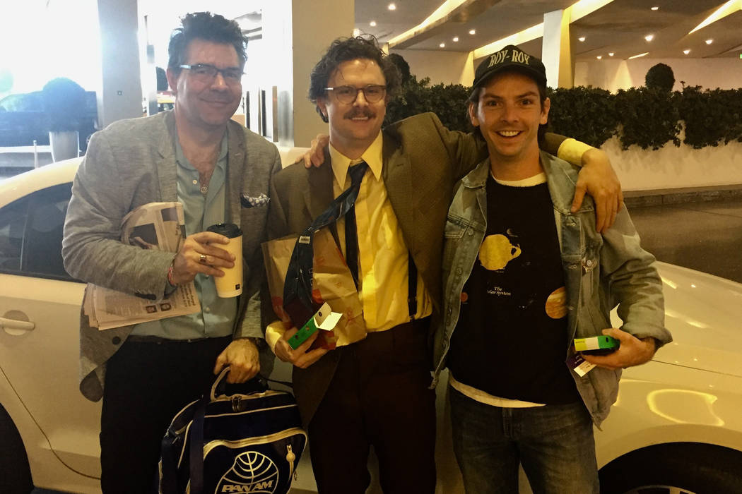 """Review-Journal columnist John Katsilometes is shown with """"Opium"""" character/producer Harry M. Howie and """"Dale"""" the Uber driver are shown at The Cosmopolitan of Las Vegas on Friday, March 2, 2018. ( ..."""