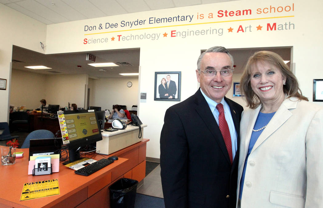 Don and Dee Snyder in the front office of their namesake elementary school Tuesday, March 6, 2018. The school at 8951 W. Ford Ave. near Durango Avenue and Blue Diamond Road will be dedicated March ...