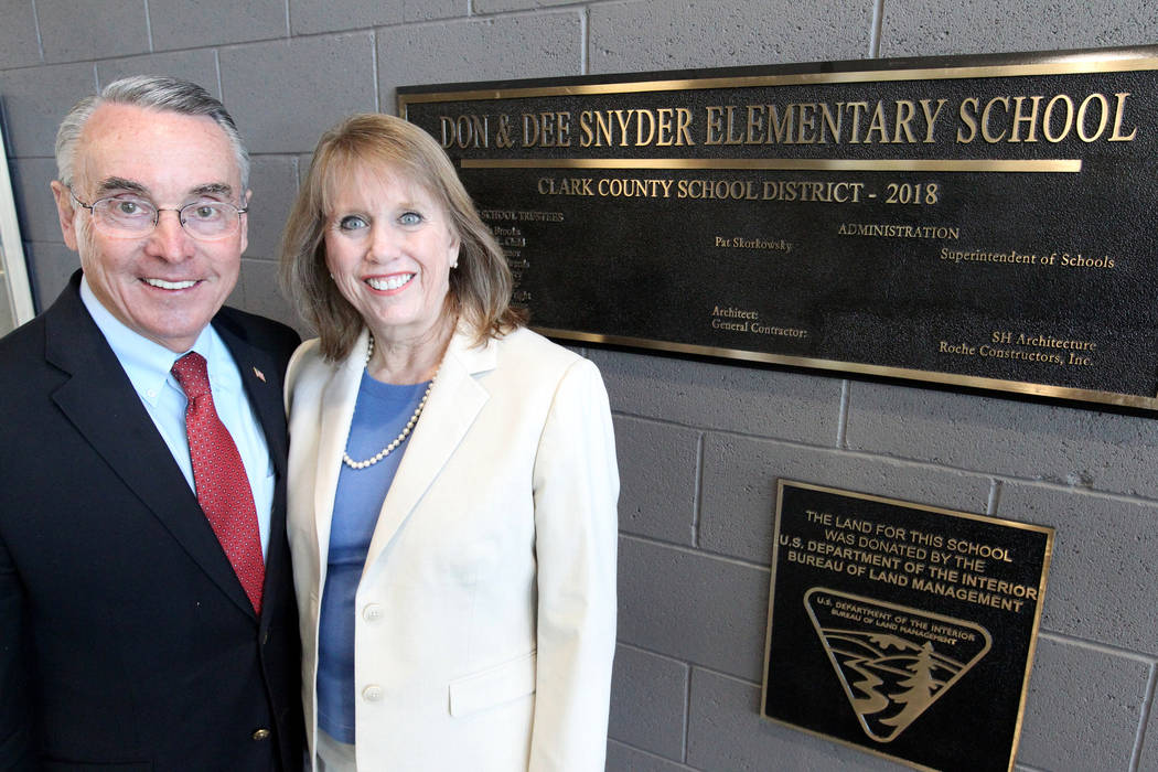 Don and Dee Snyder at the entrance of their namesake elementary school Tuesday, March 6, 2018. The school at 8951 W. Ford Ave. near Durango Avenue and Blue Diamond Road will be dedicated March 20. ...
