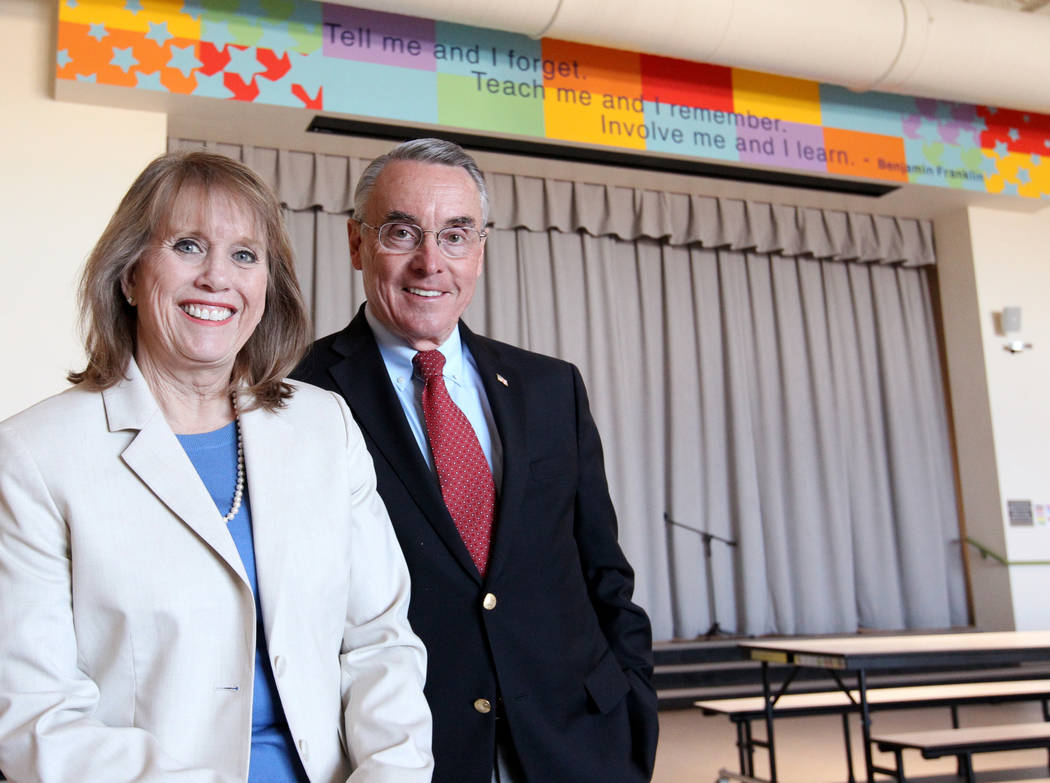 Don and Dee Snyder in the multipurpose room of their namesake elementary school Tuesday, March 6, 2018. The school at 8951 W. Ford Ave. near Durango Avenue and Blue Diamond Road will be dedicated  ...