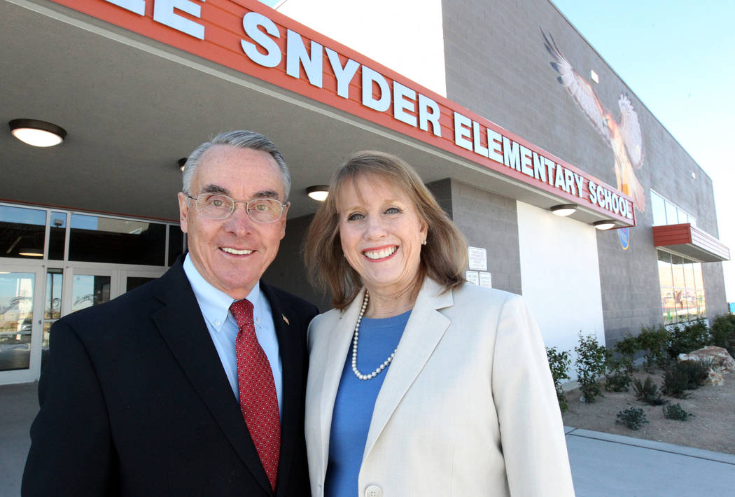 Don and Dee Snyder at their namesake elementary school Tuesday, March 6, 2018. The school at 8951 W. Ford Ave. near Durango Avenue and Blue Diamond Road will be dedicated March 20. K.M. Cannon Las ...