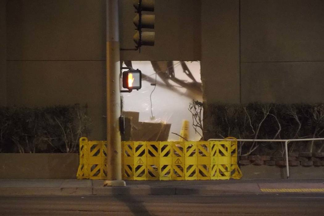 A driver, who police say was high on drugs, slammed into the Stratosphere Friday morning. (Max Michor/Las Vegas Review-Journal)