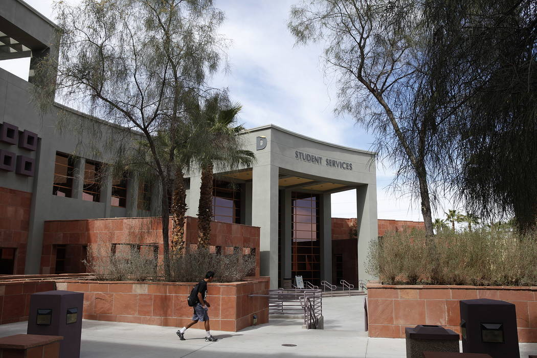 A student walks by the Student Services building at the College of Southern Nevada in Las Vegas in 2012. (Las Vegas Review-Journal)
