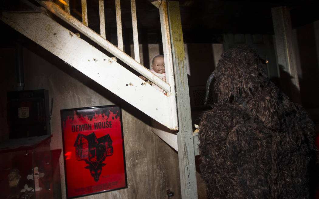 "Items and a movie prop figurine, right, found from the home featured in the upcoming documentary ""Demon House,"" by paranormal investigator Zak Bagans, at the Haunted Museum in downtown L ..."