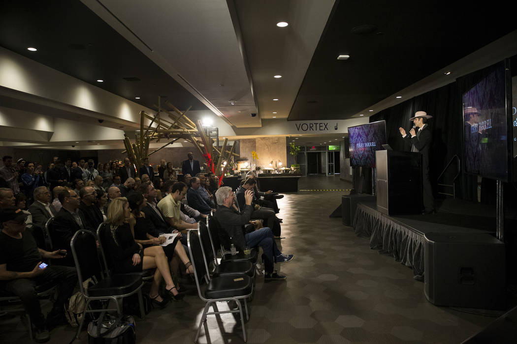 Perry Farrell, artist and chief visionary officer for Immersive Artistry, during a press conference for the future Kind Heaven entertainment venue, at the The Linq hotel-casino in Las Vegas, Tuesd ...