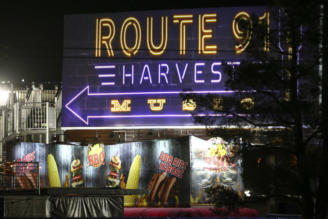 Grounds for the Route 91 Harvest Festival in the early hours of Monday, Oct. 2, 2017. Chase Stevens Las Vegas Review-Journal @csstevensphoto