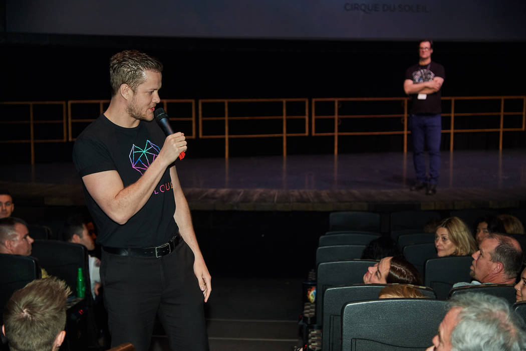 "Imagine Dragons frontman Dan Reynolds fields questions from the audience after Thursday's screening of the documentary ""Believer."" (Al Powers)"