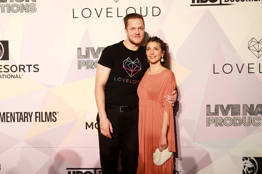 "Dan Reynolds and his wife Aja Volkman pose before a VIP screening of ""Believer,"" the documentary by Imagine Dragons frontman, Reynolds, at KA Theatre at MGM Grand in Las Vegas on Thursda ..."