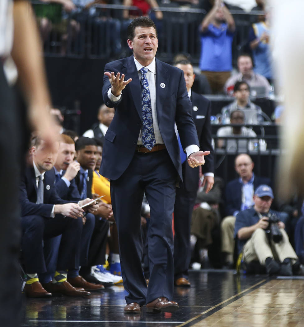 UCLA Bruins head coach Steve Alford reacts as his team plays the Arizona Wildcats during the second half of a semifinal basketball game in the Pac-12 basketball tournament at T-Mobile Arena in Las ...