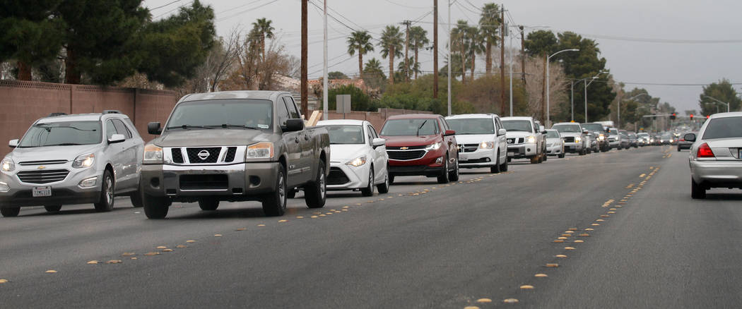 Traffic back up on Rancho Drive in Las Vegas, Saturday, March 10, 2018.  Chitose Suzuki Las Vegas Review-Journal @chitosephoto