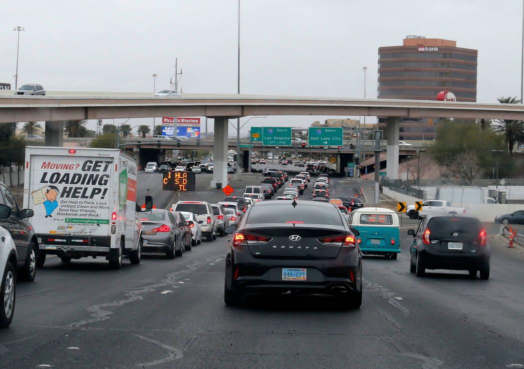 Traffic back up on Sahara Avenue in Las Vegas, Saturday, March 10, 2018. Chitose Suzuki Las Vegas Review-Journal @chitosephoto