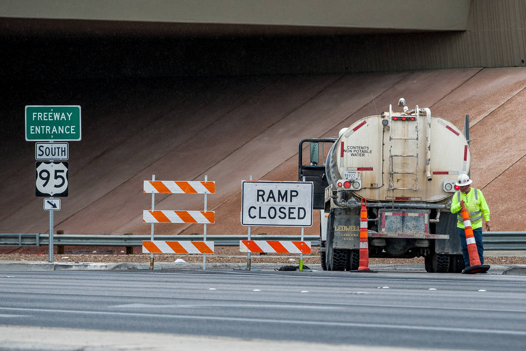 A construction worker moves a cone at the Rancho Drive on-ramp to U.S. Highway 95, which is closed due to construction, in Las Vegas on Saturday, March 10, 2018.  Patrick Connolly Las Vegas Review ...