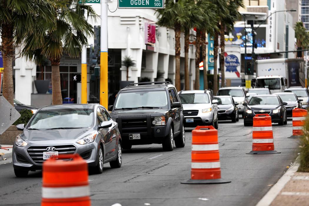 A view of traffic on Las Vegas Boulevard in the downtown area in Las Vegas on Saturday, March 10, 2018.  Andrea Cornejo Las Vegas Review-Journal @DreaCornejo