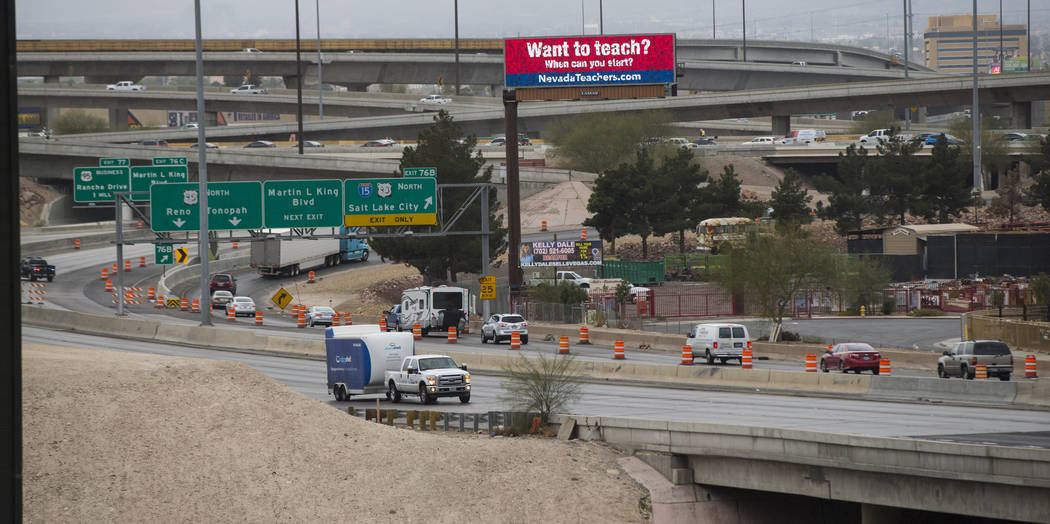 """Traffic moving northbound is directed off of U.S. Highway 95 as part of the """"Main Event"""" segment of Project Neon in downtown Las Vegas on Saturday, March 10, 2018. Traffic was slated to  ..."""
