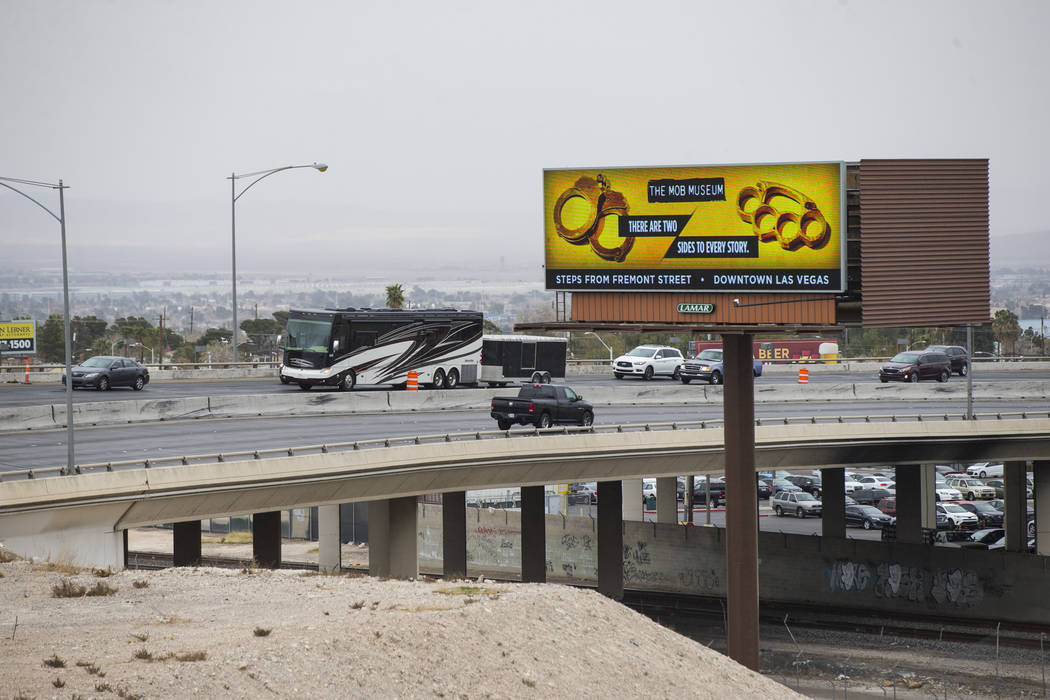 """Traffic moving northbound before being directed off of U.S. Highway 95 as part of the """"Main Event"""" segment of Project Neon in downtown Las Vegas on Saturday, March 10, 2018. Traffic was  ..."""