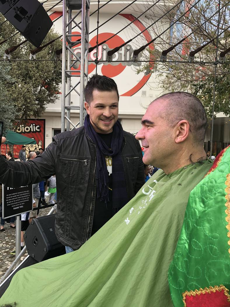 Mark Shunock and Review-Journal columnist John Katsilometes are shown at the St. Baldrick's shave-a-thon at New York-New York on Saturday, March 10, 2018. (St. Baldrick's Foundation)