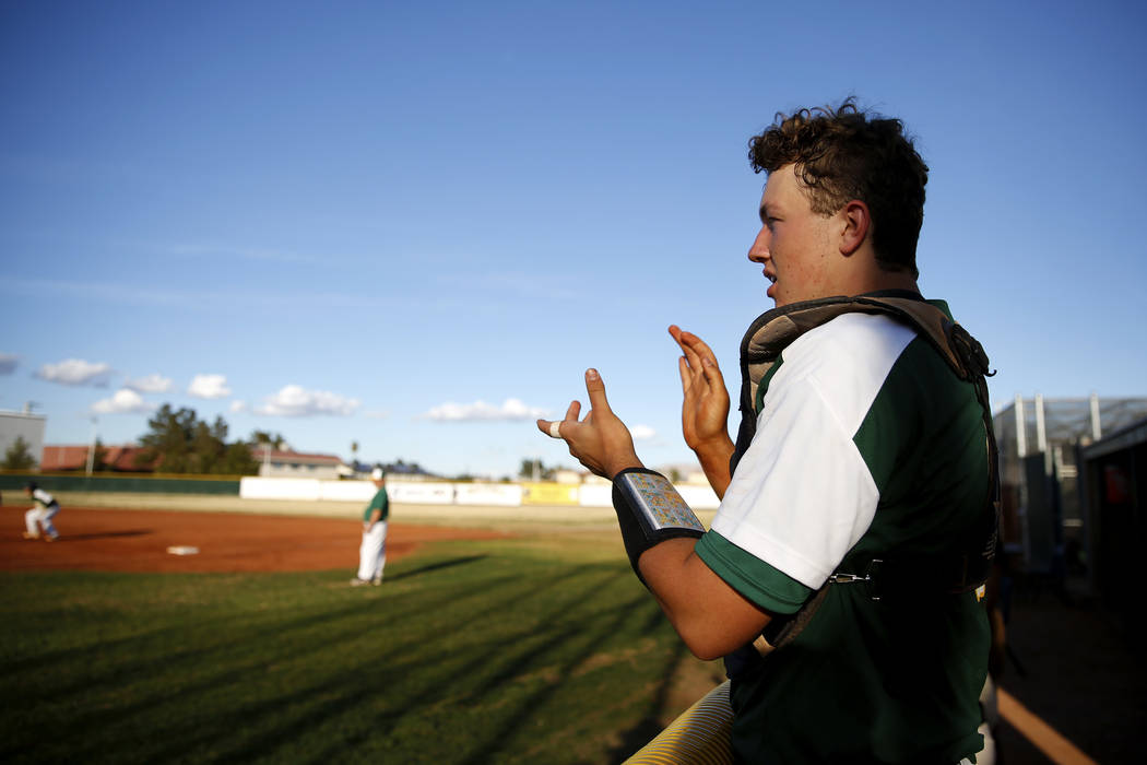 Rancho Rams' Matthew Baughn (5) cheers for his team during a game against the Liberty Patriots' at Rancho High School on Monday, March 12, 2018, in Las Vegas. The Rams won 11-1. Andrea Cornejo Las ...