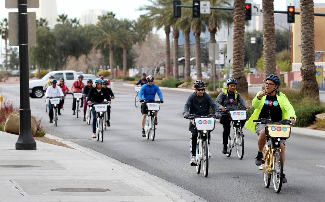 Cyclists on Grand Central Parkway Monday, March 12, 2018, during a bike ride through historic West Las Vegas. The ride, which included students from Liberty High School and officials from the Regi ...