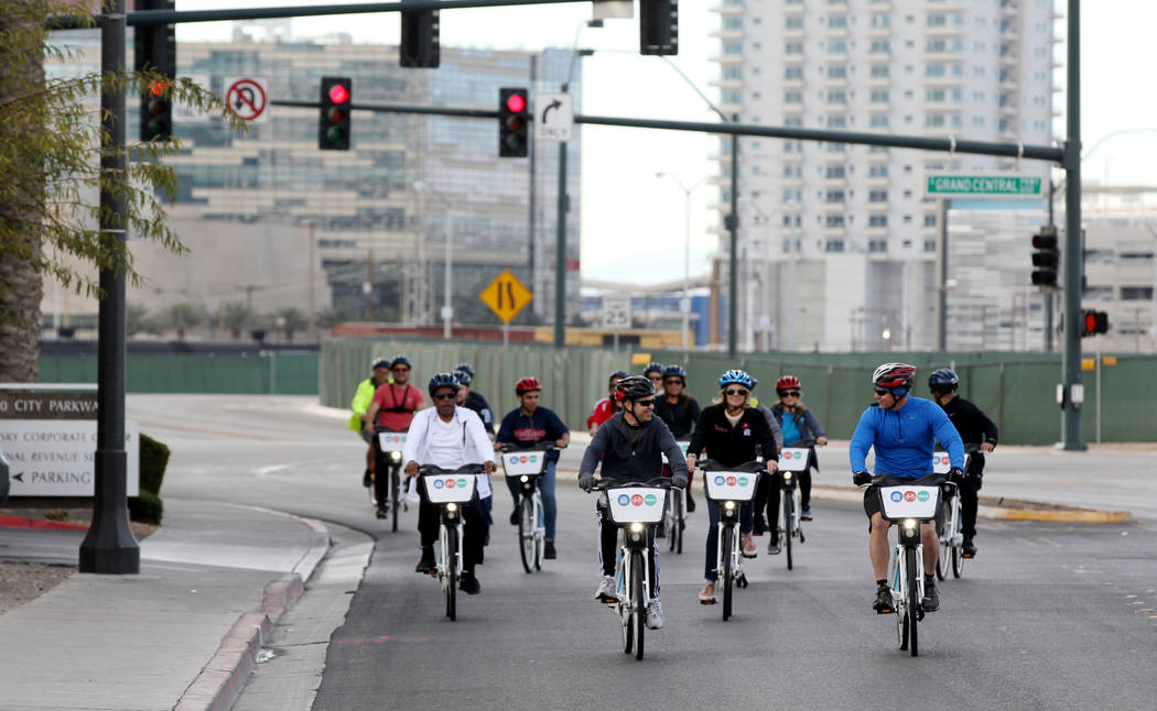 Cyclists on City Parkway Monday, March 12, 2018, during a bike ride through historic West Las Vegas. The ride, which included students from Liberty High School and officials from the Regional Tran ...